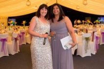 Lorna Bailey pictured with Zoe's Place Corporate Manager Muna Chauhan